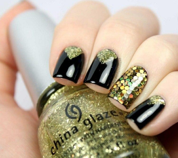 pintura uñas purpurina dorada