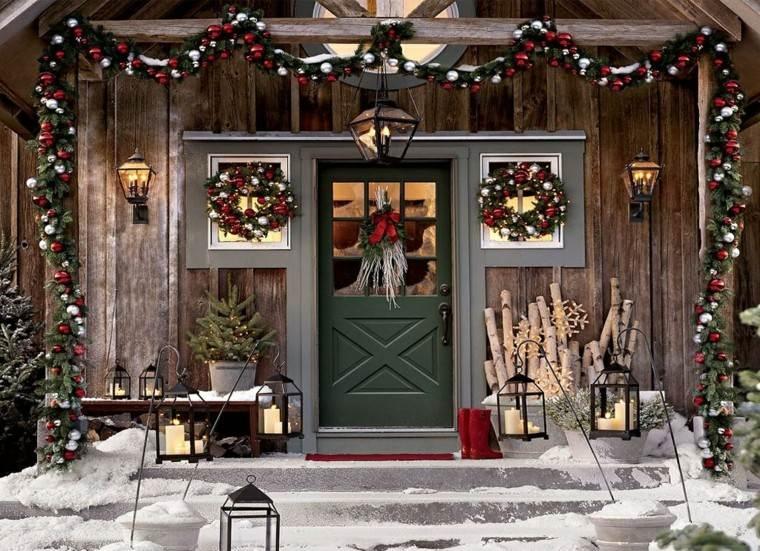 porche puerta de entrada decoracion navidena estilo rustico ideas