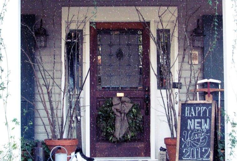 porche puerta de entrada decoracion navidena invierno ideas