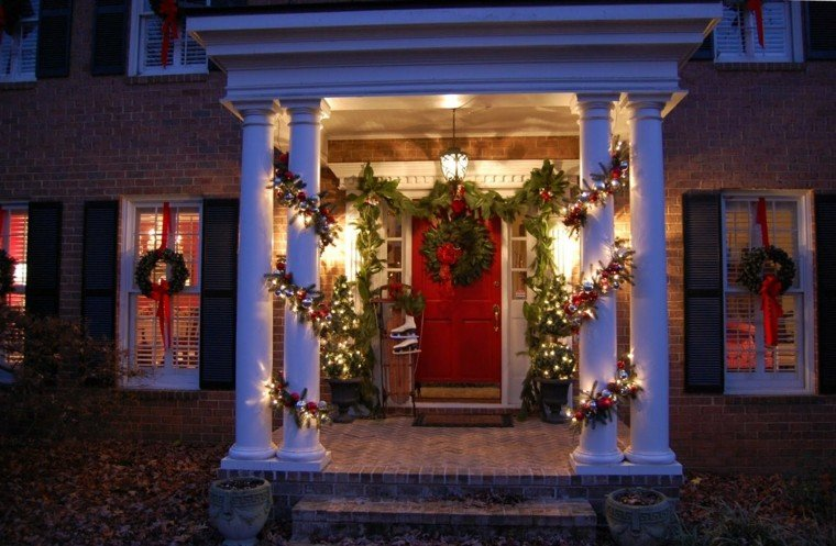 porche puerta de entrada decoracion navidena luces ideas