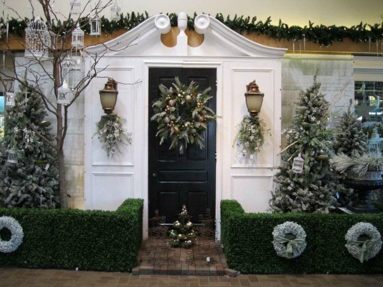 porche puerta de entrada ideas decoracion navidena arboles blancos ideas