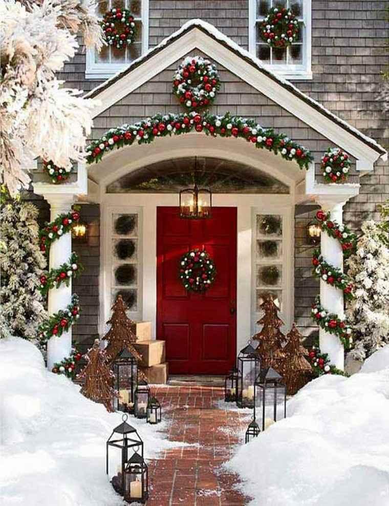 porche puerta de entrada ideas decoracion navidena arboles navidad ideas