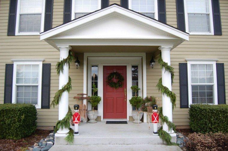 porche puerta de entrada ideas decoracion navidena figuras moderno