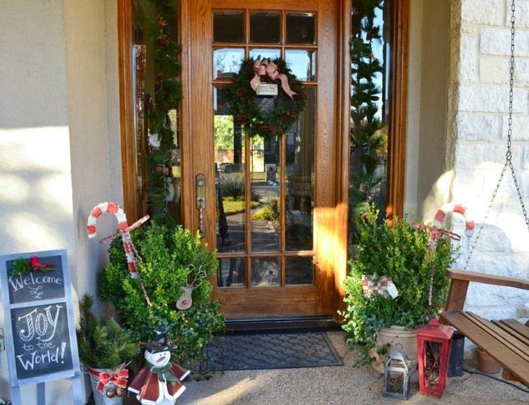 porche puerta de entrada ideas decoracion navidena pizarra original