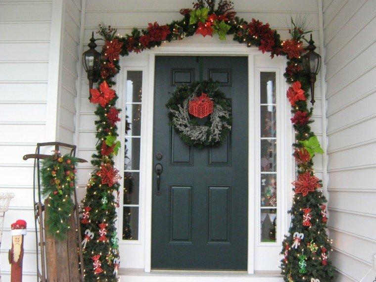porche puerta de entrada ideas guirnaldas trineo original
