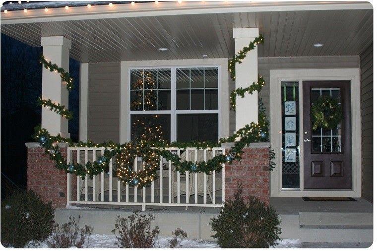 porche puerta de entrada ideas guirnardas luces navidad original
