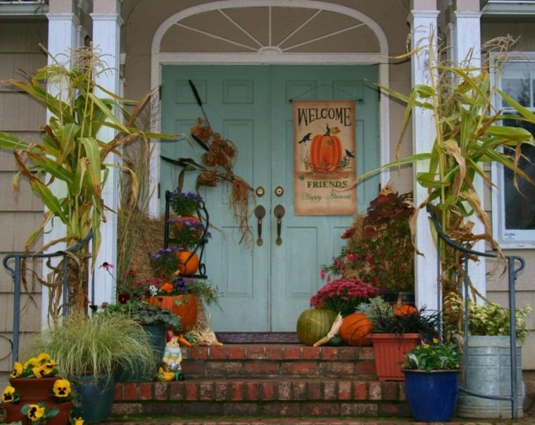 porches decoracion cartel cosecha maiz