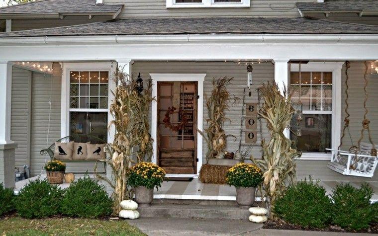 porches decoracion otoño cuervos calabazas