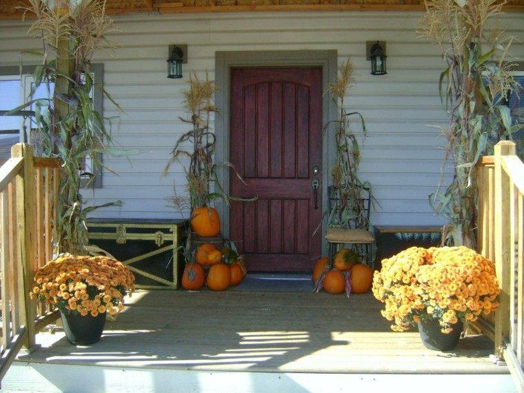 porches decoracion otoño escalera lamparas