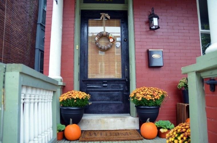 porches decoracion otoño madera corona