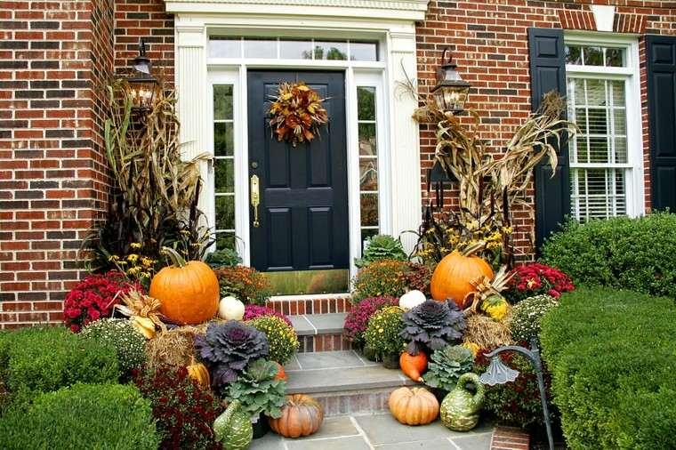 porches decoracion otoño plantas ladrillos
