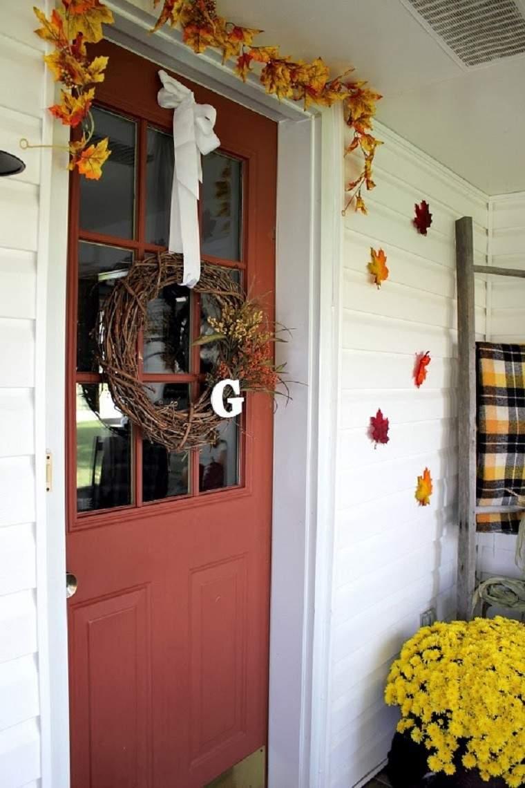 puerta decorada diseño estilo variante hojas