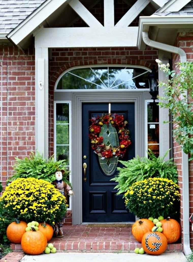 puerta entrada bonita deco otoño