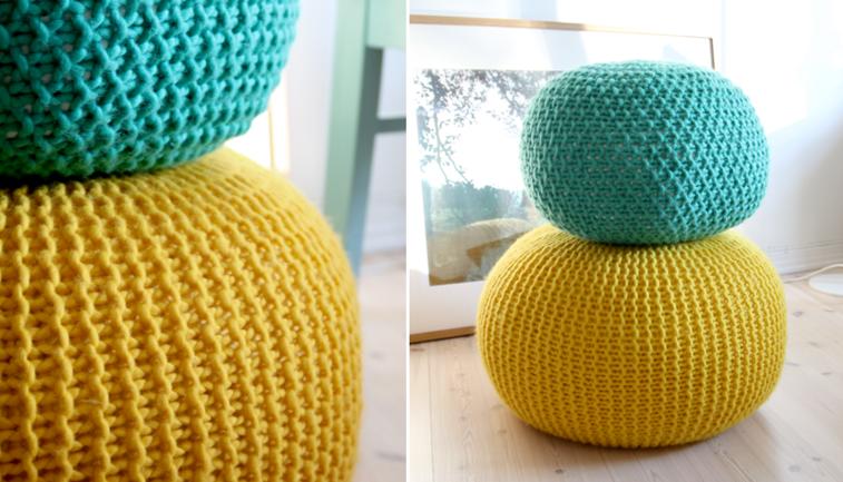 puffs lana colores celeste amarillo