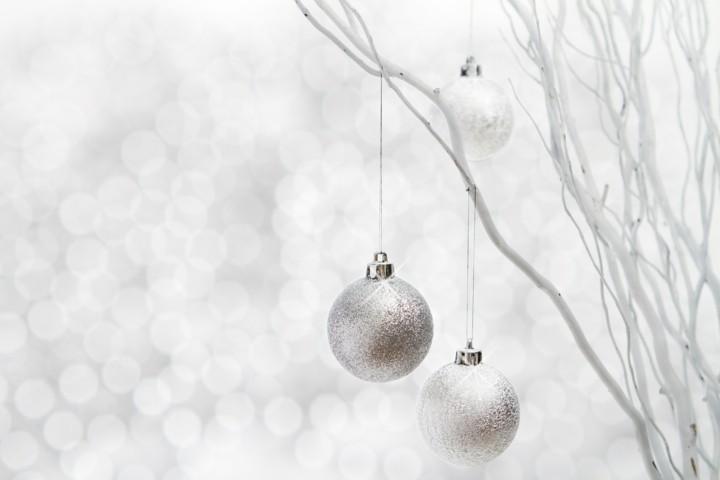 ramas blancas bolas plateadas