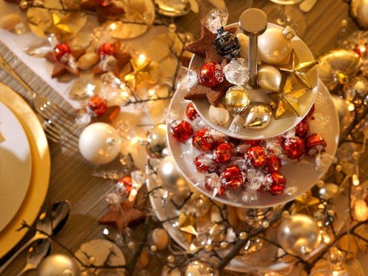 ramas dorado estilo platos cucharas centro