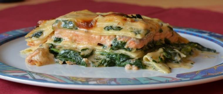 receta de lasaña espinacas salmón