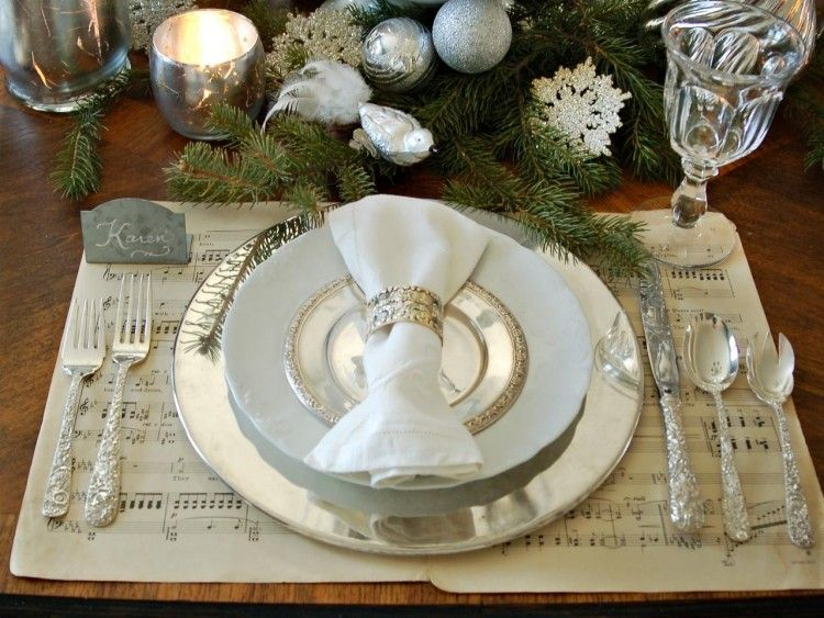 recetas decorar mesa navidad bolas plata ramas abeto ideas