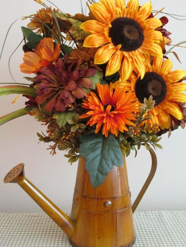 regadera vieja flores otoño