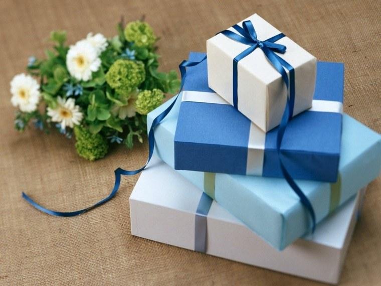 regalos padres navidad cajas azul blanco ideas moderno