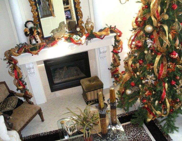 rojo oro adornos navidad arbol guirnaldas preciosas ideas