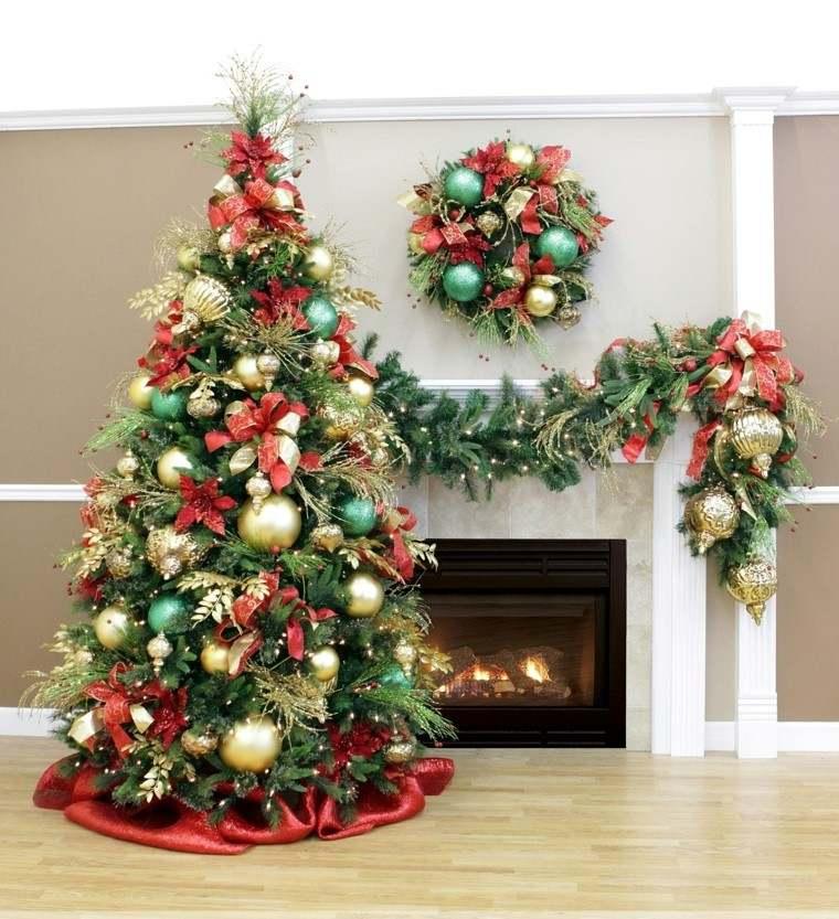 rojo oro adornos navidad chimenea guirnaldas ideas