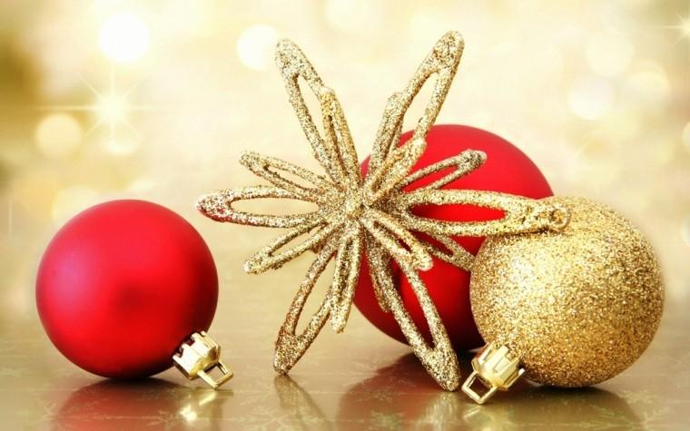 rojo oro adornos navidad estrella bolas ideas