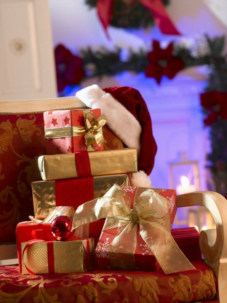 rojo oro adornos navidad gorra papa noel ideas