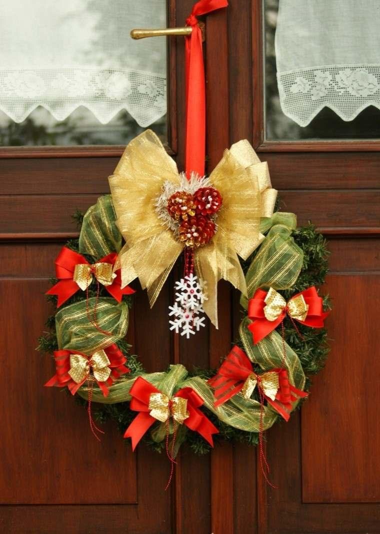 rojo oro adornos navidad guirnalda lazos rojos ideas