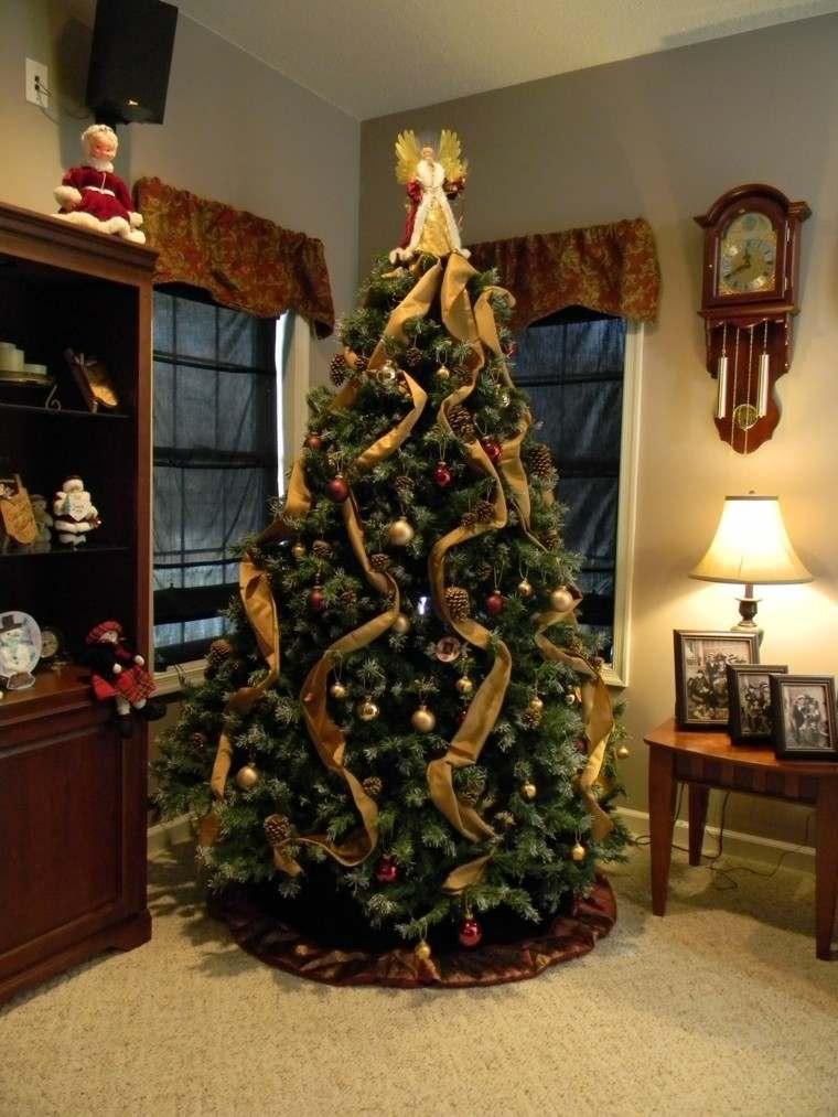 rojo oro adornos navidad lazos pinas ideas