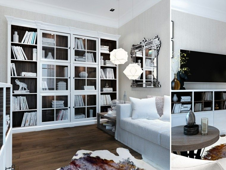 salon decoracion fresco amplio librero lamparas