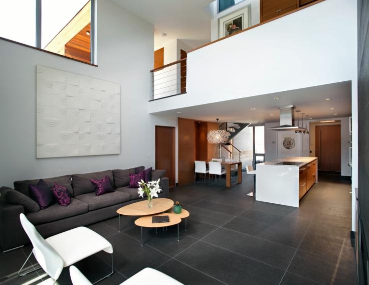 salon moderno gris suelo baldosas