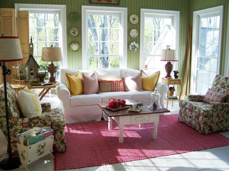 salon terraza paredes verdes