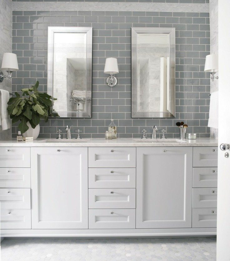 Light Gray Cabinets With White Glazed Subway Tiles: Azulejos Grises Para Suelos Y Paredes
