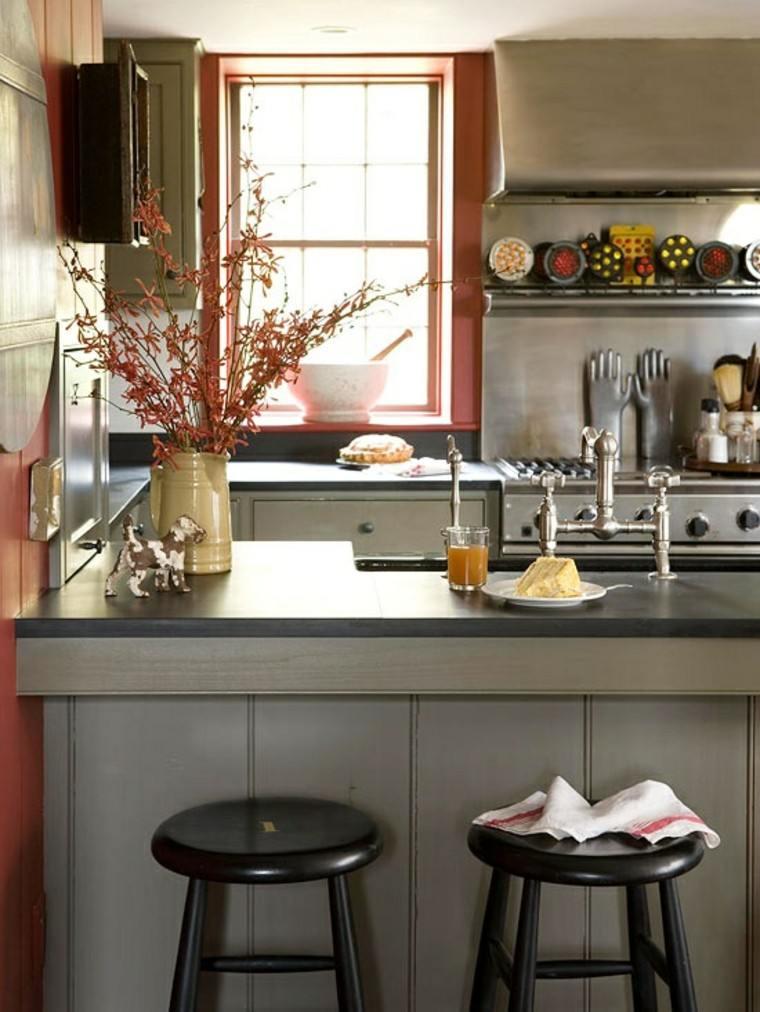 sillas cocina negro diseño taburetes