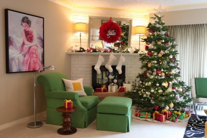 sillon color verde decoracion navidad
