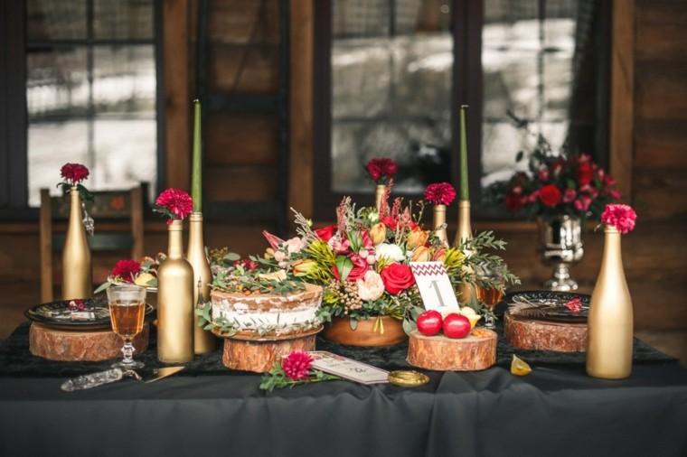 soportes madera flores manzanas decorando mesa otono ideas