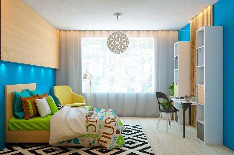 suelos de madera interiores forja alfombra azul