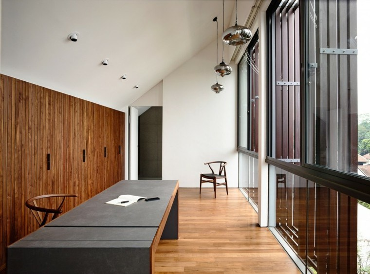 suelos de madera interiores forja curvado escritorio mesa