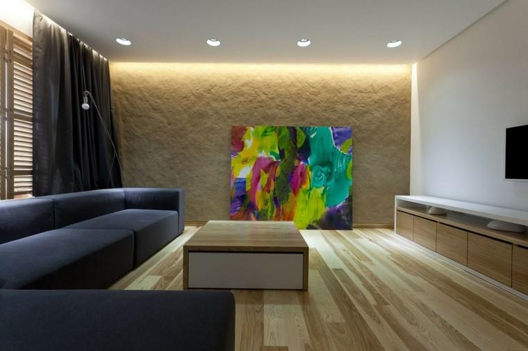 suelos de madera interiores forja lamparas colorido