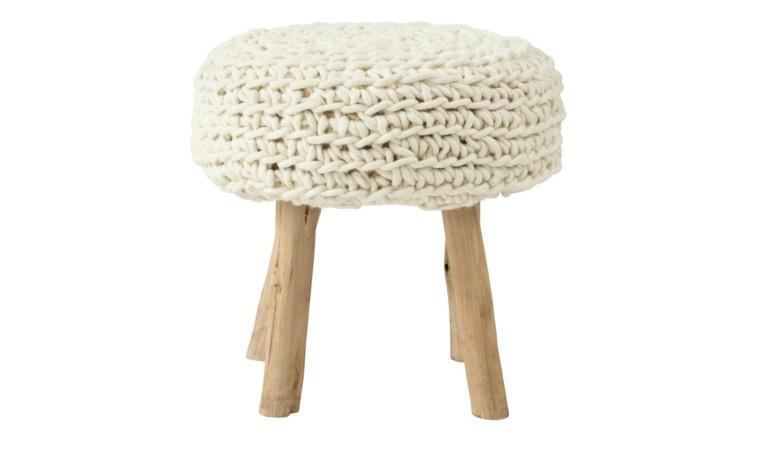taburete asiento lana blanca patas