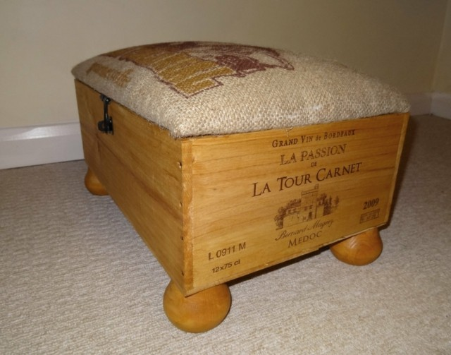 taburete caja madera vino patas