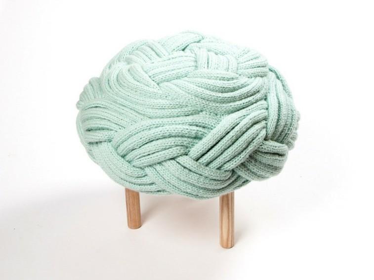 taburete lana color aguamarina asiento