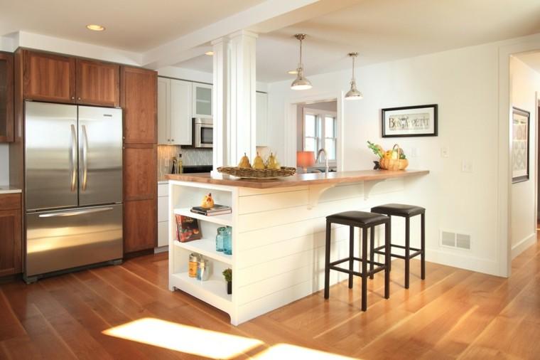 taburetes cuero madera decoracion refrigerador