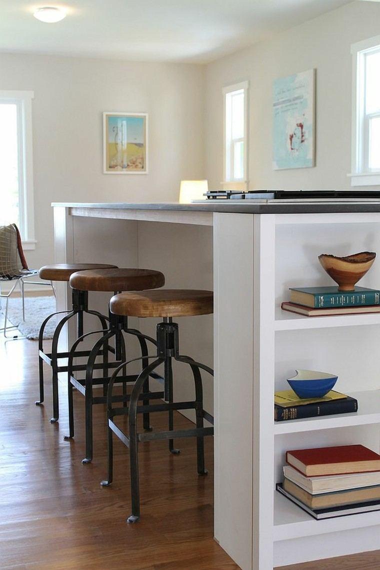 Cocinas con isla estanteria abierta estilo fresco y for Taburetes isla cocina