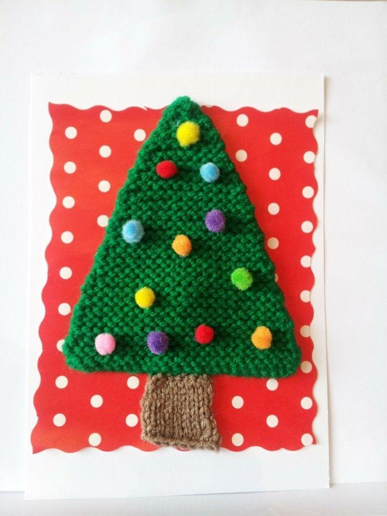 tejer detalles navidad tarjeta pino