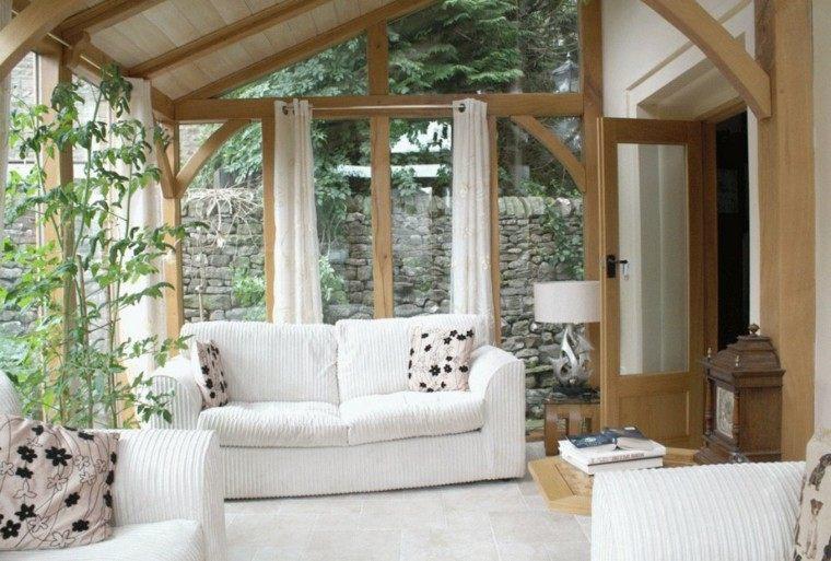 terraza cubierta sofa blanco