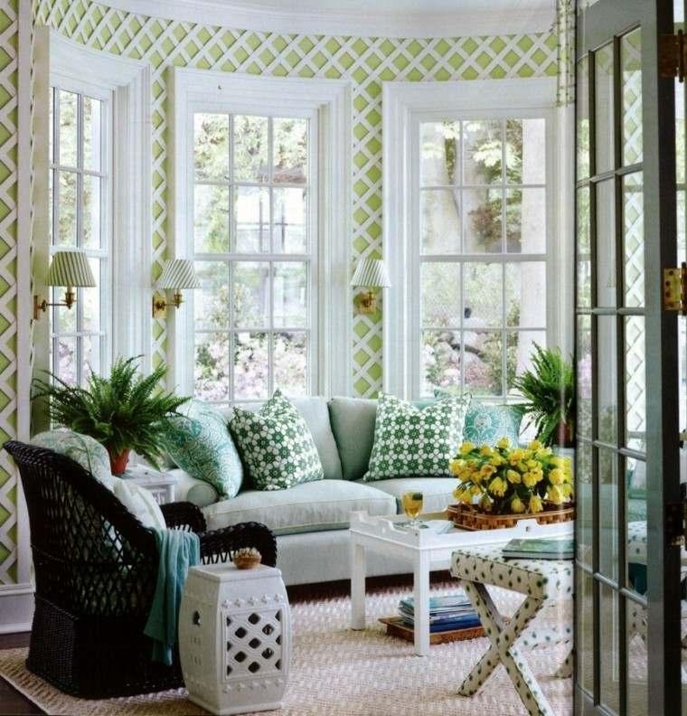 terraza cubierta deco cojines verdes