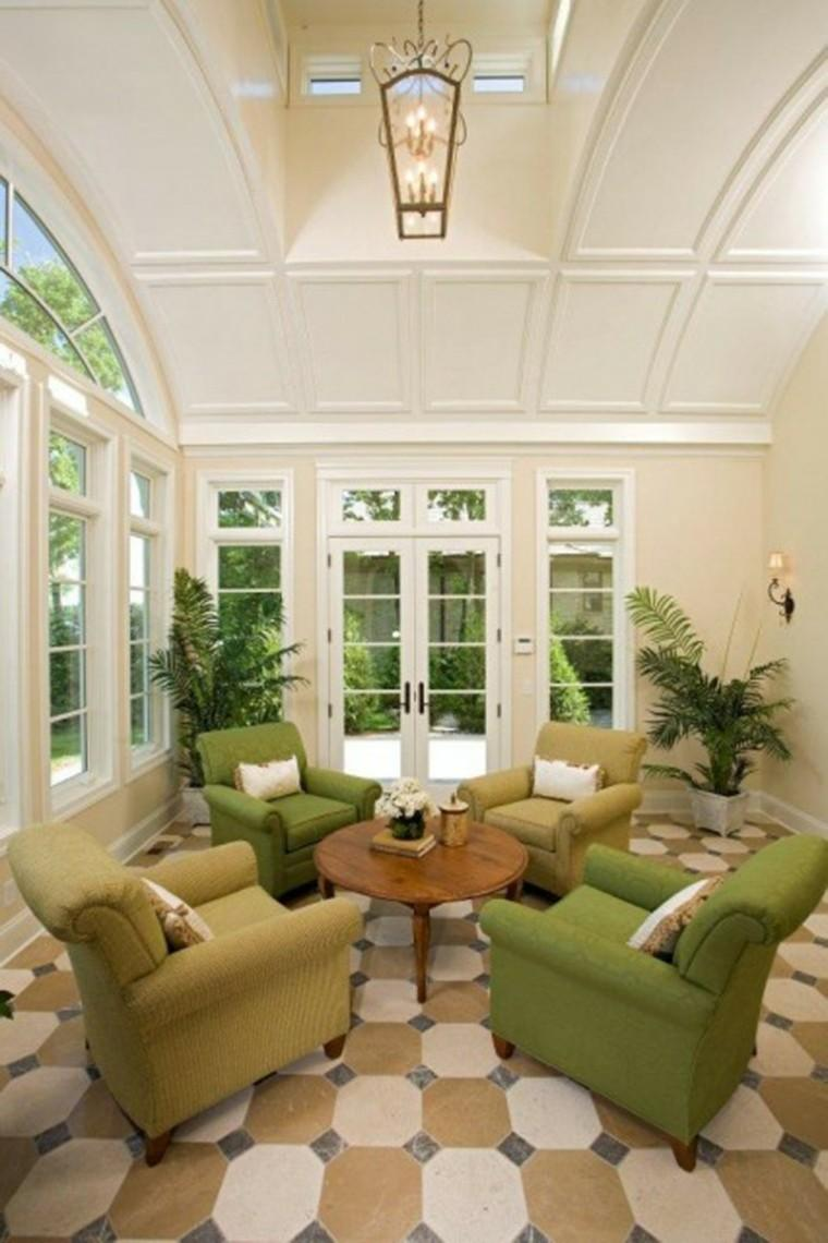 terraza cubierta sillones verdes