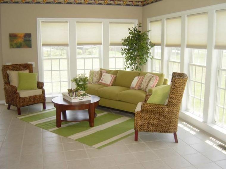 terraza cubierta sofa color verde